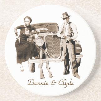 Bonnie & Clyde Zandsteen Onderzetter