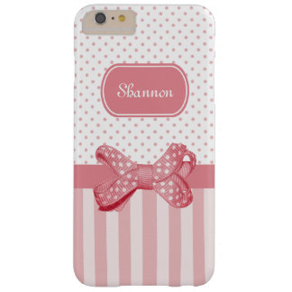Boog van de Stip van de Strepen van Girly de Roze Barely There iPhone 6 Plus Hoesje