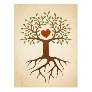 Boom met wortels en takken die een hart omringen briefkaart