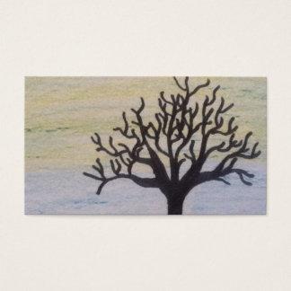 boom silhouet op zonsondergang visitekaartjes