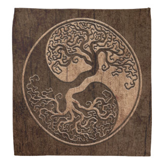 Boom van het Leven Yin Yang met het Houten Effect Bandana