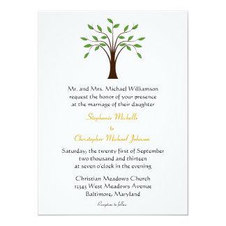 Boom van Moderne Symbolisch van het Leven op Wit 13,9x19,1 Uitnodiging Kaart