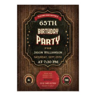 bord & het Hout van de 65ste Verjaardag het 12,7x17,8 Uitnodiging Kaart