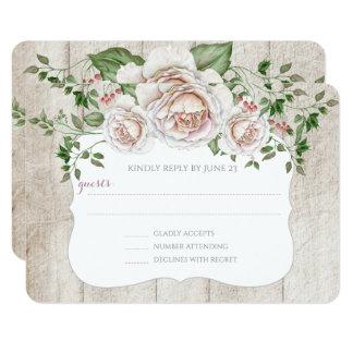 Bord - het roze Houten Huwelijk RSVP van het Huis 8,9x12,7 Uitnodiging Kaart
