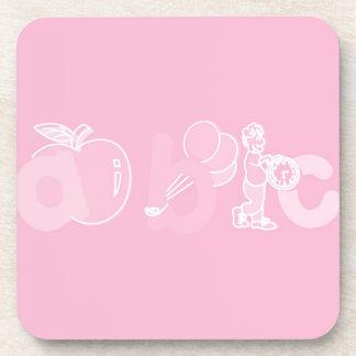 Bord - het roze Logo van het Alfabet van ABC voor  Drankjes Onderzetter