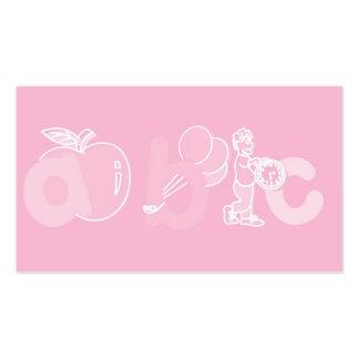 Bord - het roze Logo van het Alfabet van ABC voor  Visitekaartjes