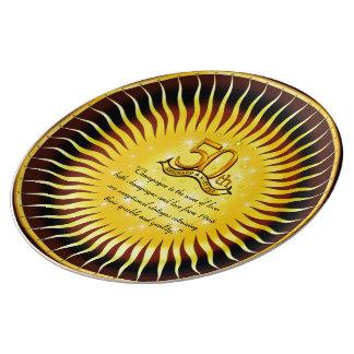 bord van het Porselein van het 50ste Jubileum het Porseleinen Bordjes