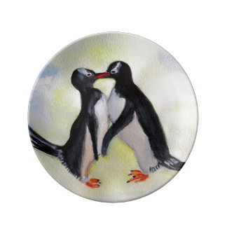 Bord van het Porselein van pinguïnen het Porselein Bord