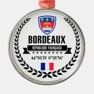 Bordeaux Zilverkleurig Rond Ornament