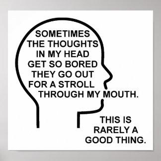 Bored Grappige Poster van Gedachten