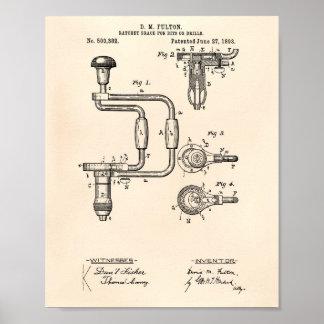 Boren 1893 Octrooi Kunst Oude Peper Poster