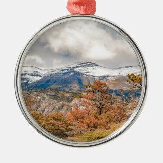 Bos en SneeuwBergen, Patagonië, Argentinië Zilverkleurig Rond Ornament