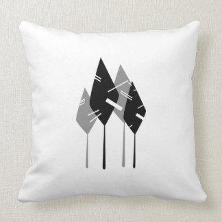 bos forest design graphic zwart grijs wit sierkussen