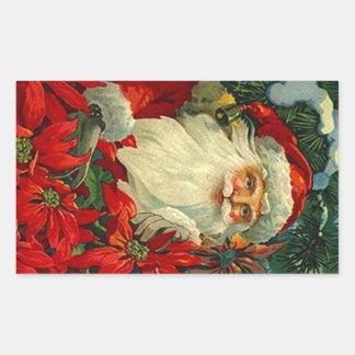 Bos van Kerstmis van de Kerstman van de Poinsettia Rechthoek Stickers