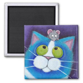 Bosbes en Heel kleine Magneet Mousey Vierkante Magneet