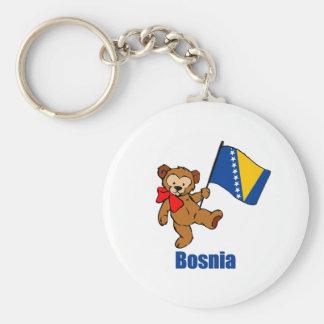 Bosnia Teddybeer Basic Ronde Button Sleutelhanger