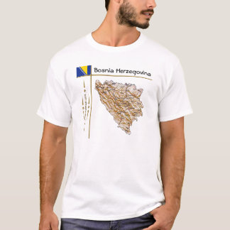 Bosnia - van Herzegovina Kaart + Vlag + De T-shirt
