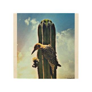 """""""Bosrijk op"""" het Houten Art. van de Muur Saguaro Afdruk Op Hout"""