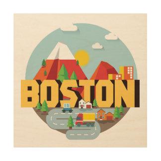 Boston als Bestemming Hout Afdruk