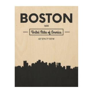 Boston, Massachusetts | Coördinaten van de Stad Hout Afdruk