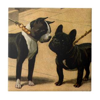 Boston Terrier en Franse Buldog Keramisch Tegeltje