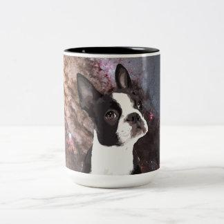 Boston Terrier in Ruimte Tweekleurige Koffiemok