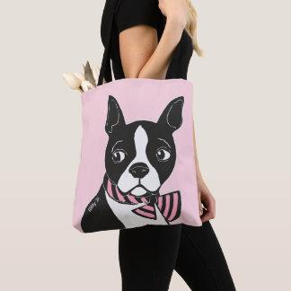 Boston Terrier met Het Lichtrose Canvas tas van de