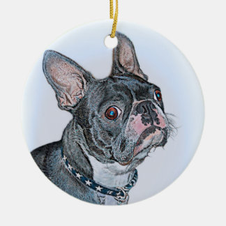 Boston Terrier Rond Keramisch Ornament