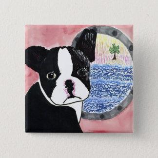Boston Terrier Vierkante Button 5,1 Cm