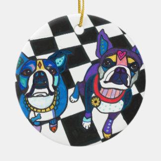 Boston Terriers door Heide Galler Rond Keramisch Ornament