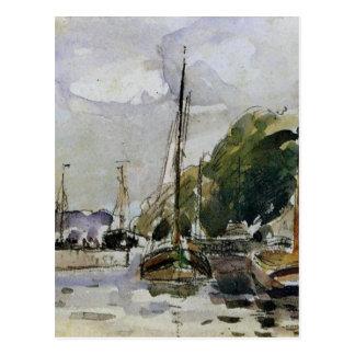 Boten bij Dok door Camille Pissarro Briefkaart