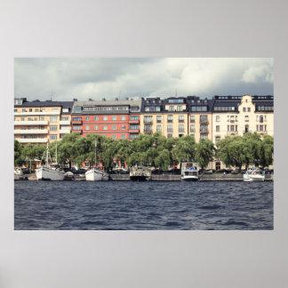 Boten en huizen in Stockholm Poster