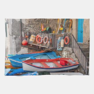 Boten in Cinque Terre Italië Theedoek