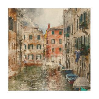 Boten in de Kanalen van Venetië Italië Hout Afdruk