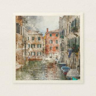 Boten in de Kanalen van Venetië Italië Wegwerp Servetten