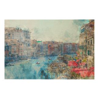 Boten in het Grote Kanaal in Venetië Italië Hout Afdruk