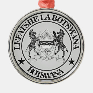Botswana om Embleem Zilverkleurig Rond Ornament