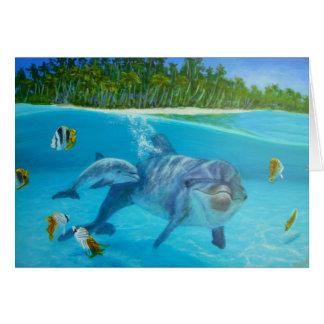 bottlenose dolfijn met baby notitiekaart