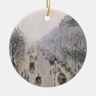 Boulevard Montmartre, 1897 (olie op canvas) Rond Keramisch Ornament