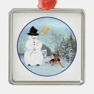 Bouw een Sneeuwman Zilverkleurig Vierkant Ornament
