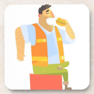 Bouwer die Lunch op Bouwwerf eten Bier Onderzetter