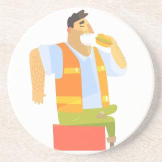 Bouwer die Lunch op Bouwwerf eten Zandsteen Onderzetter
