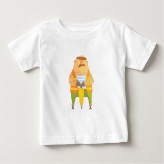 Bouwer met Jackhammer op Bouwwerf Baby T Shirts