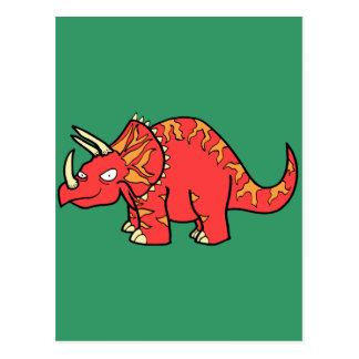 Boze Rode Triceratops - Dinosaur-gifts.com Wenskaart
