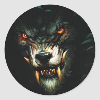 boze wolf stiker:) ronde sticker