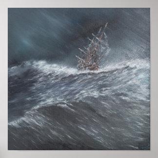 Brak HMS in een storm van de Hoorn van de Kaap Poster