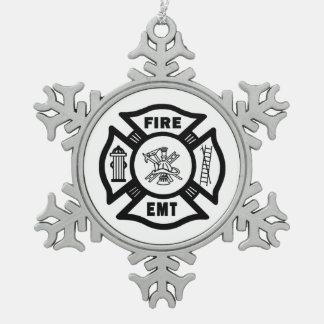 Brand Afd. EMT Tin Sneeuwvlok Ornament