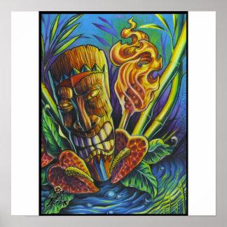 Brand van de god-druk Tiki Poster
