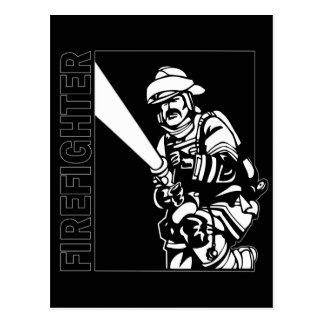 Brandbestrijder in Zwart-wit Briefkaart