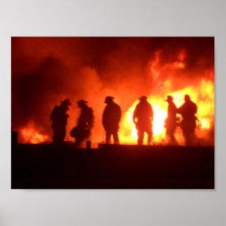 brandbestrijders in actie poster